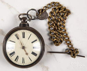 Sterling silver open-face pocket watch