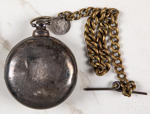 Sterling silver open-face pocket watch