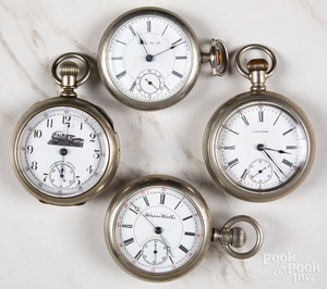 Four open-face pocket watches