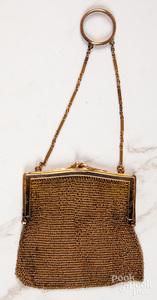 14K gold Victorian miniature mesh purse