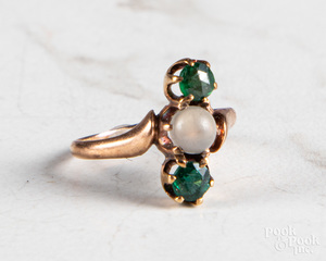 14K rose gold antique gemstone ring