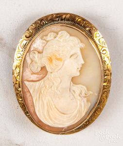 14K rose gold antique carnelian cameo pin/pendant