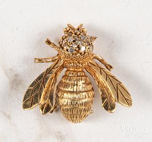 18K yellow gold diamond and gemstone bee pin