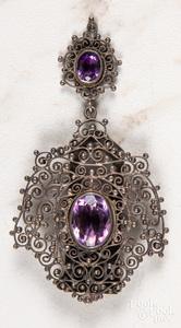 Vintage beadwork and milgrain gemstone dress clip