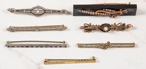 Seven Victorian brooches