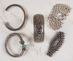 Four sterling bracelets, etc