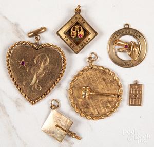 Group of 14K gold pendants