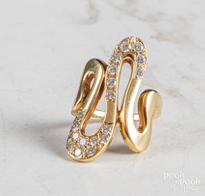 18K yellow gold diamond wave ring