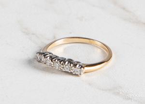 14K yellow gold diamond contour stacking band