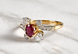 Platinum and 18K diamond and ruby ring