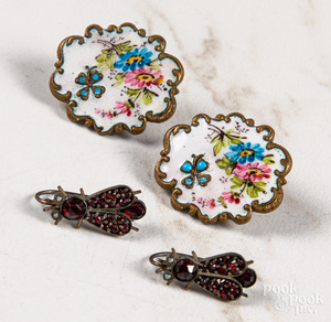 Two pairs of antique dangle earrings