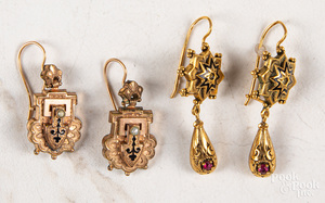 Two pairs of Renaissance Revival earrings