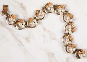 14K gold pearl link bracelet