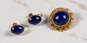 14K lapis lazuli oval cabochon earrings, etc.