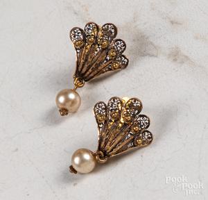 Pair of 24K gold filigree earrings
