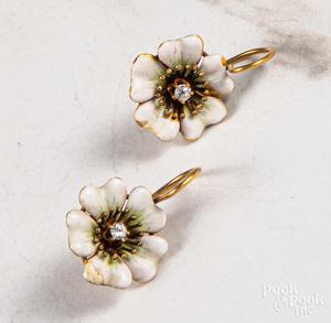 Pair of 14K gold diamond enamel flower earrings