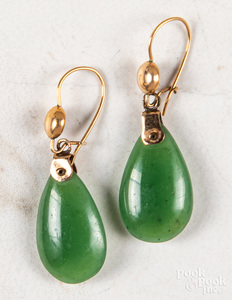 Pair of 14K gold jade drop earrings