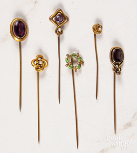 Group of 14K gold gemstone stick pins