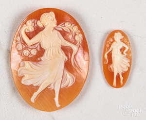 Two loose hand carved cameos