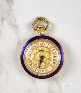 18K yellow gold enamel engraved watch pendant