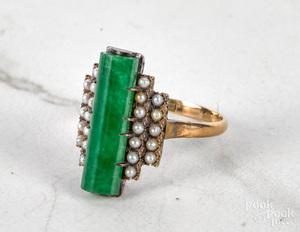 14K gold jade seed pearl ring