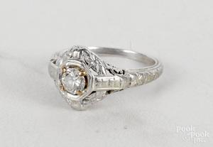 18K white gold Art Nouveau engagement ring