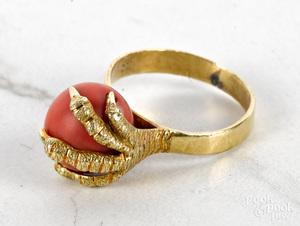 18K yellow gold Italian claw ring