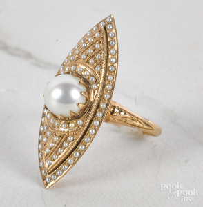 14K yellow gold pearl navette ring