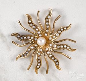 14K gold pearl sunburst brooch