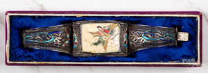 Chinese silver and hand painted ivory bracelet
