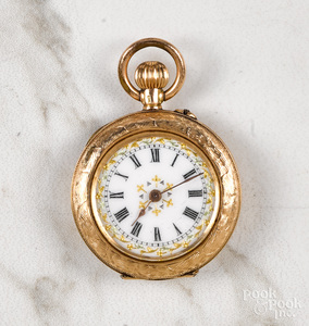 14K gold ladies pocket watch pendant