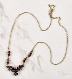 Garnet cluster necklace