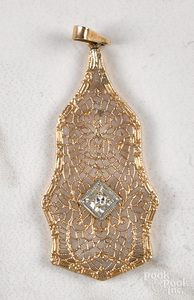 14K yellow gold filigree necklace