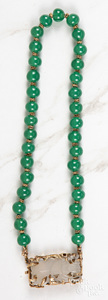 14K gold carved and beaded jade necklace