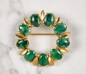 14K gold jade brooch