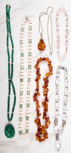 Six semi-precious gemstone necklaces