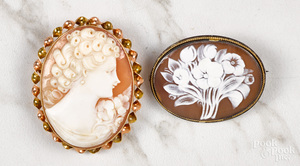 Two carved carnelian cameos