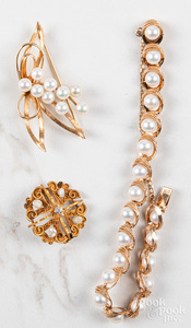 Three pieces of 14K gold pearl jewelry