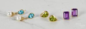 Three pairs of 14K gold gemstone earrings