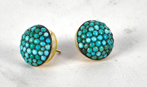 Pair of 14K gold Victorian turquoise earrings