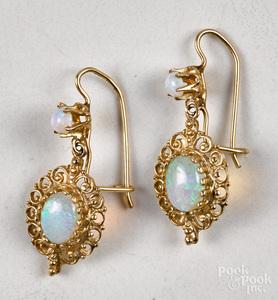 Pair of 14K gold opal drop earrings