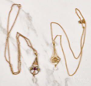 Two gold lavalier necklaces
