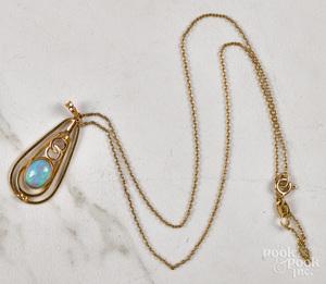 14K gold opal lavalier necklace