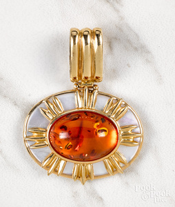 14K gold mother of pearl and amber pendant