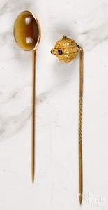 Two 14K gold stick pins