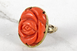 14K yellow gold carved coral rose ring
