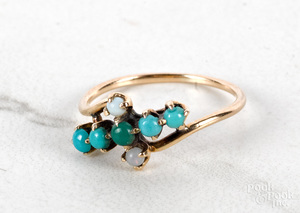 14K rose gold antique turquoise ring