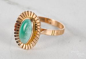 18K yellow gold turquoise ring