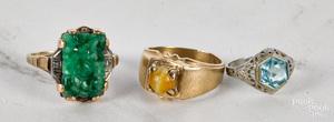 Three 10K gold rings