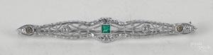 Platinum emerald and diamond bar brooch